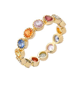 14K Yellow Gold Rainbow Sapphire Bezel Set Eternity Band