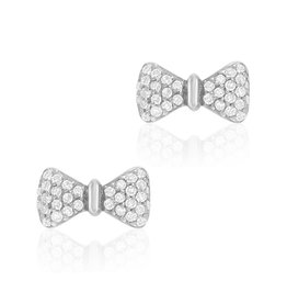 14K White Gold Bow Stud Earrings