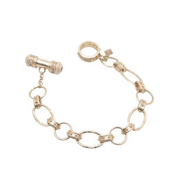 Rose Gold Link Bracelet with Blue Sapphire Toggle