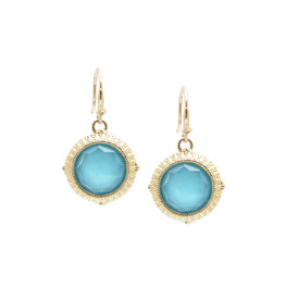 18KY & Sterling Turquoise Doublet Earrings