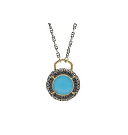 Turquoise Doublet Old World Pendant Necklace