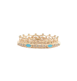 Rose Gold Half Crown Ring with Turquoise & Diamonds