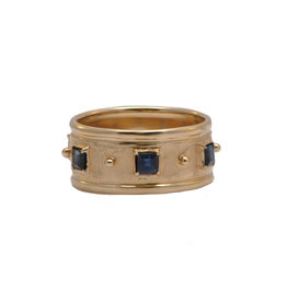 Rose Gold Wide Band Ring with Blue Sapphires