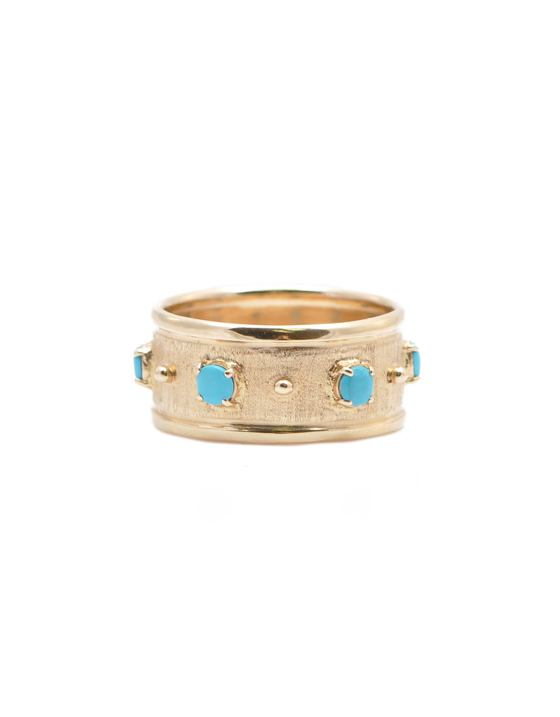Rose Gold & Turquoise Band Ring