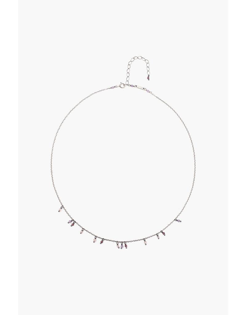 Amethyst, Garnet and Cherry Quartz Beaded Necklace
