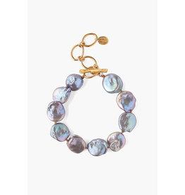 Peacock Grey Keshi Pearl Chain Bracelet