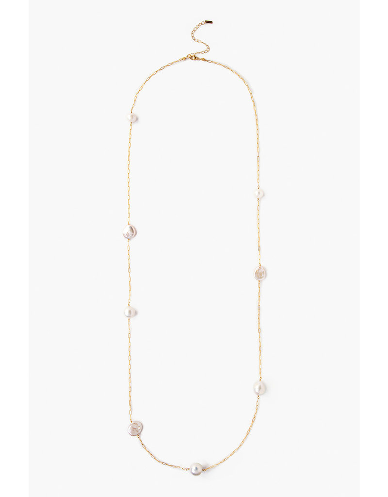 White Pearl Mix Chain Necklace