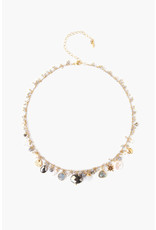 Mystic Labradorite Mix Pyrite Faceted Oval Stone Necklace
