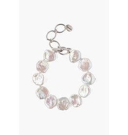 White Keshi Pearl Chain Bracelet