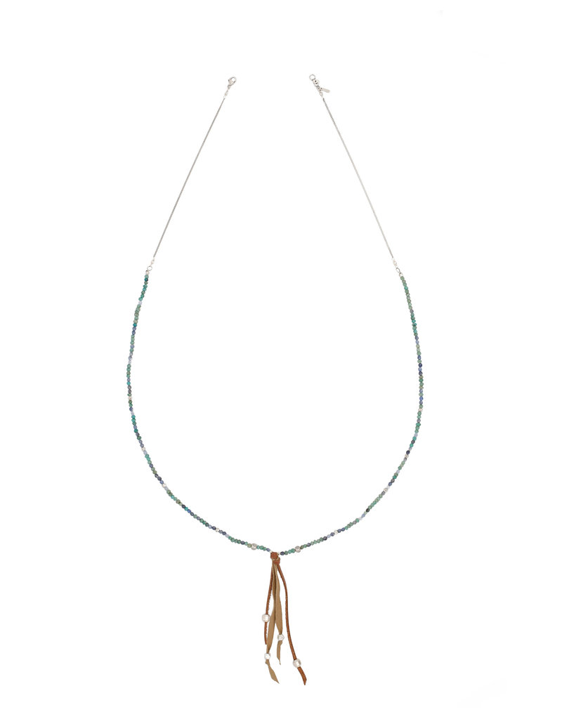 Green Bead Mix and Leather Tassel Necklace