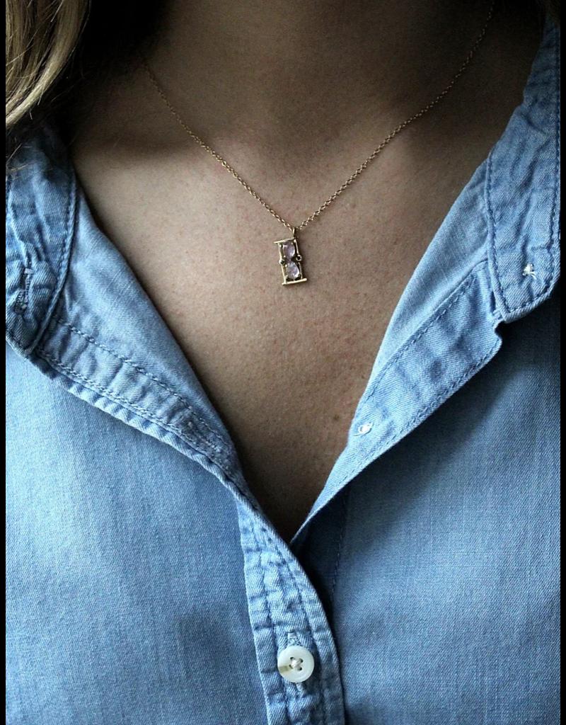 14K Gold Mini Moonstone Hourglass Pendant