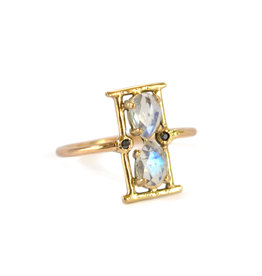 Moonstone Hourglass Ring Size 7