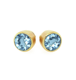 SIGNATURE LARGE KNOCKOUT STUDS BLUE TOPAZ