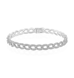 White Gold Pave Diamond Chain Link Bracelet