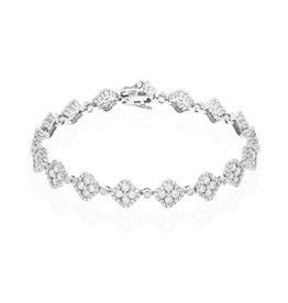 14K WHITE GOLD CLOVER DESIGN DIAMOND BRACELET