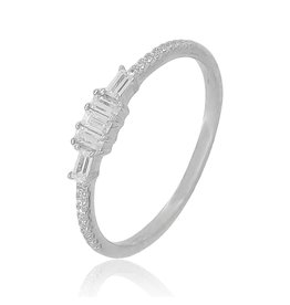 14K White Gold Thin Baguette Diamond Ring