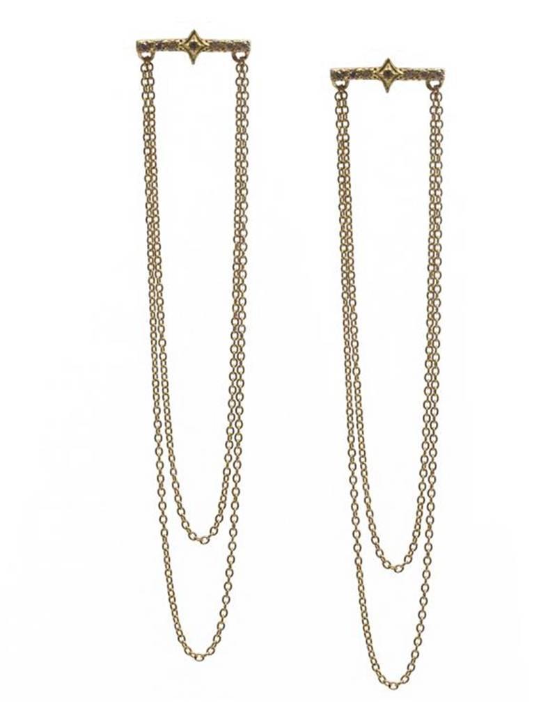 Armenta Sueno bar earrings with double chain drop