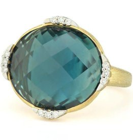 Jude Frances Lisse Triple Diamond Pave Oval London Blue Topaz Ring
