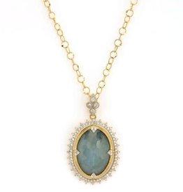 Jude Frances Provence Labradorite Sky Blue Topaz Doublet Sunburst Diamond Pendant