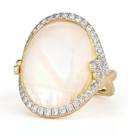 Jude Frances 18KY Provence Moonstone and Pave Diamond Oval Ring