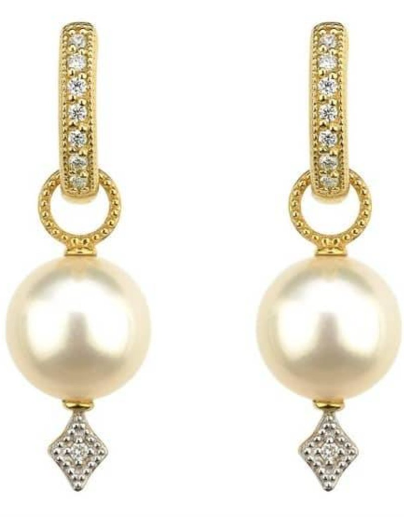 Jude Frances 18KY Large Lisse Pearl Charms w Diamonds
