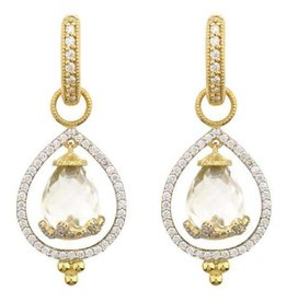 Jude Frances 18KY White Topaz Provence Hanging Briolette Pear Halo Earring