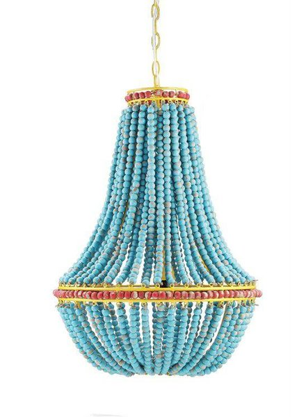 Creative Co-Op Blue Wood Beaded Chandelier