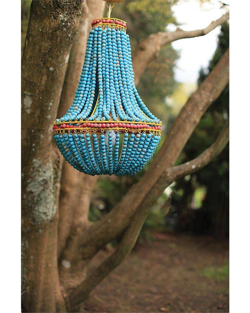 Creative Co-Op Blue Wood Beaded Chandelier