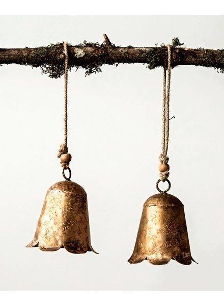 Creative Co-Op Metal Flower Bell - Gold