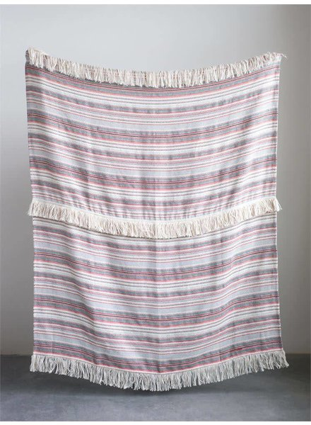 Creative Co-Op Red & Black Woven Striped Throw with Fringe