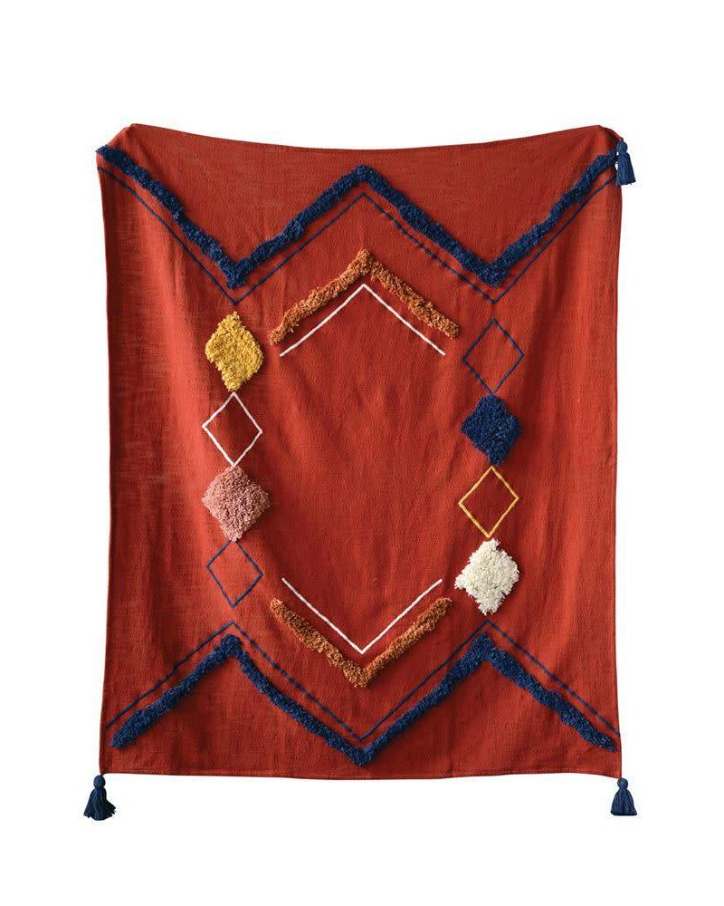 Creative Co-Op Rust Embroidered Throw with Fringe & Tassels