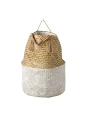 Creative Co-Op Seagrass Basket- White & Natural