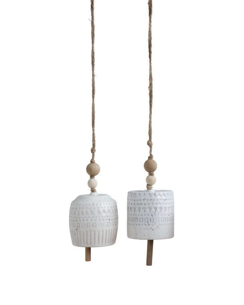 Creative Co-Op White Stoneware Bell