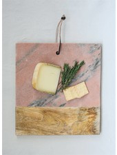 Creative Co-Op Wood & Pink Marble Cutting Board