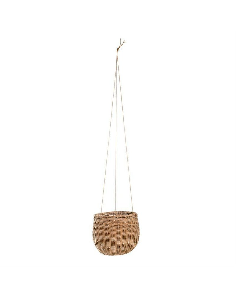 Bloomingville Hanging Rattan Basket with Faux Leather Strings- 8""