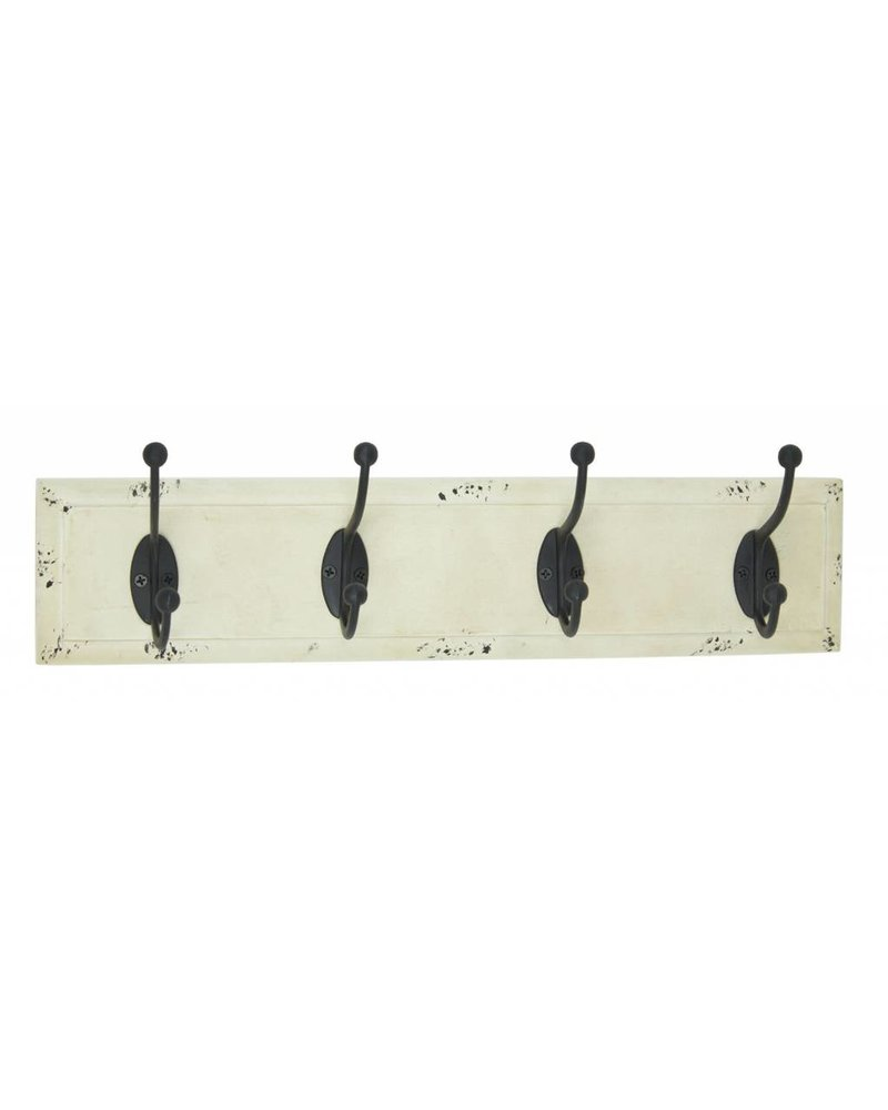 Upper Deck Antique White Mounted Four Wall Hooks
