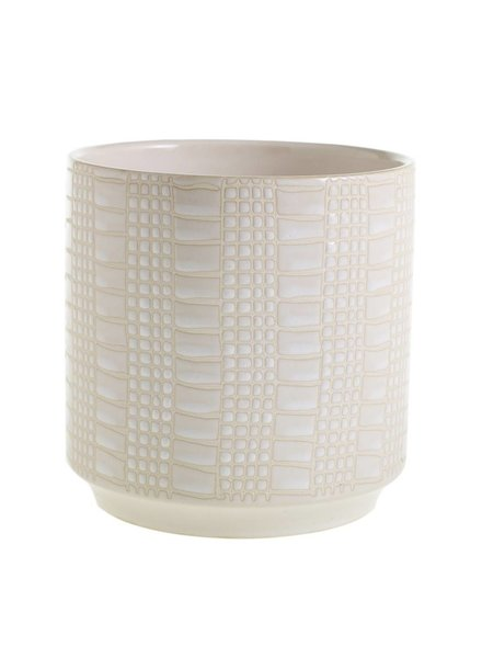 Accent Decor White Zati Textured Glazed Ceramic Planter