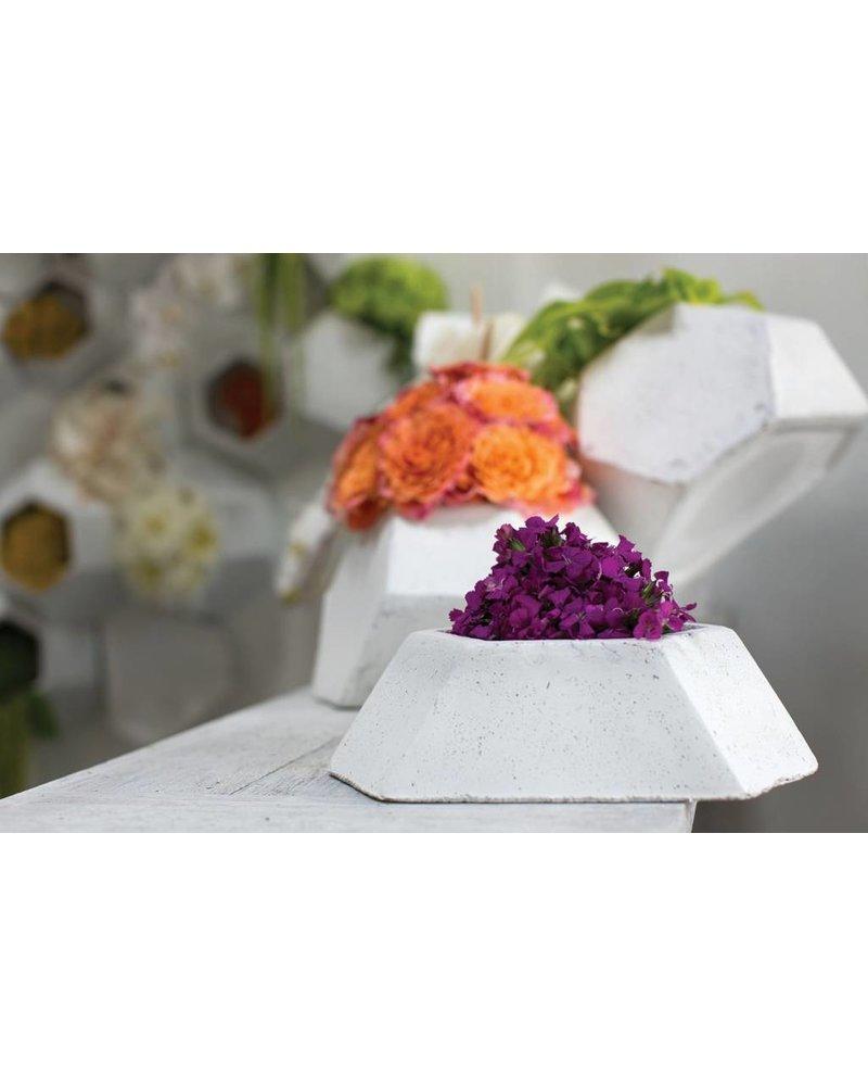 White Clay Polygon Shallow Flux Planter