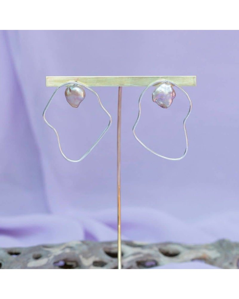 Slate & Stone Slate & Stone- Oyster Pearl Earrings