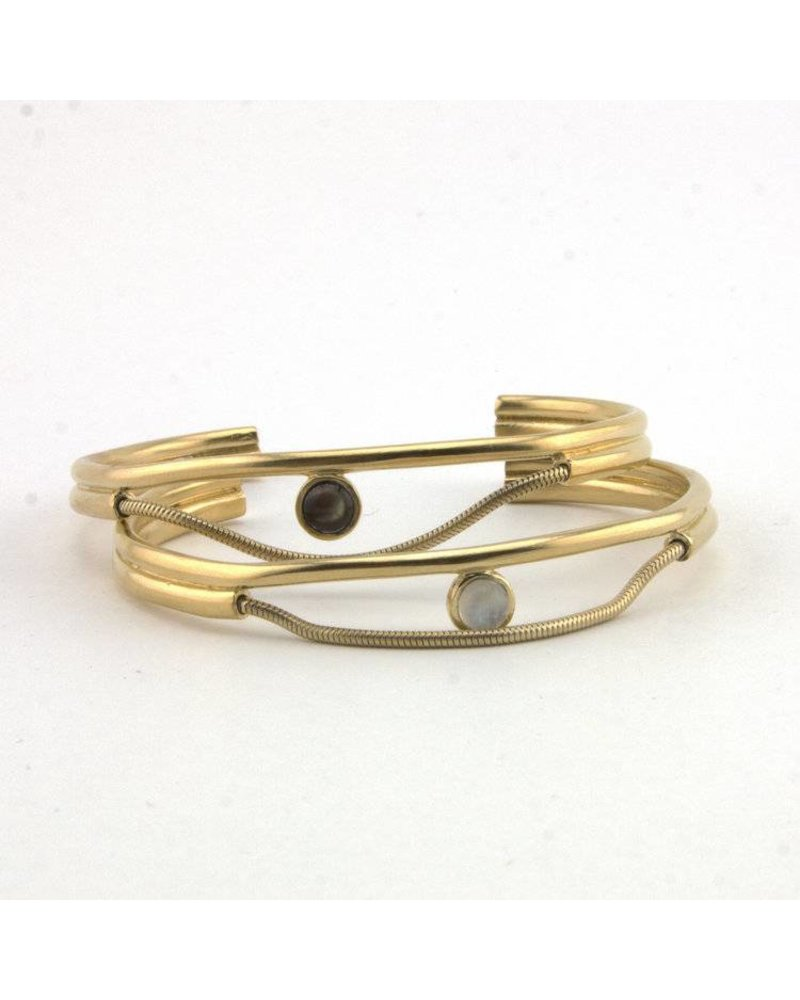 Lindsay Lewis Lindsay Lewis Faye Cuff - Brass with Rainbow Moonstone