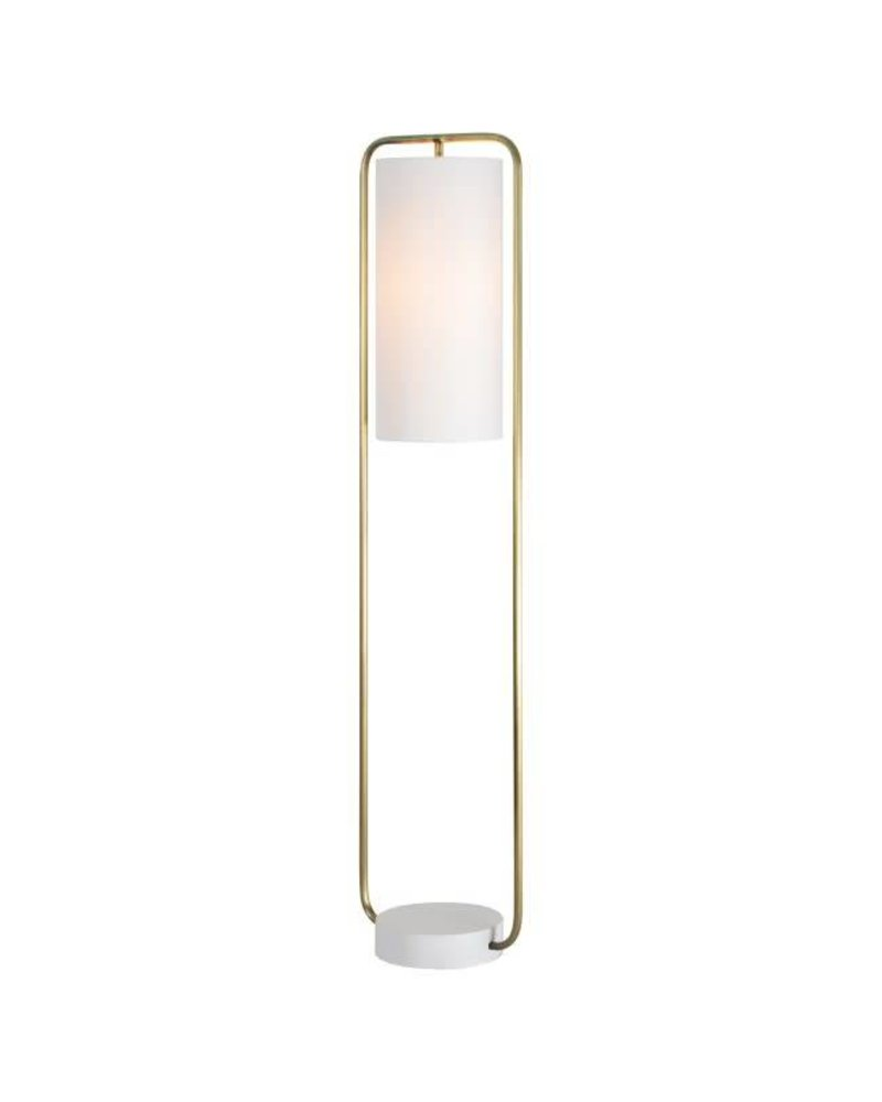 Brass with White Base Standing Lamp