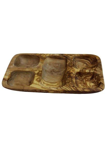 Le Souk Ceramique & Le Souk Olivique Olive Wood 5- Section Tapas Bowl