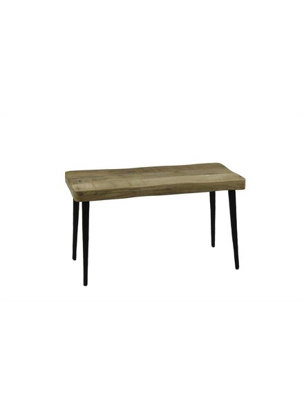 BIDKhome Mango Wood & Hammered Iron Bench- Natural & Black