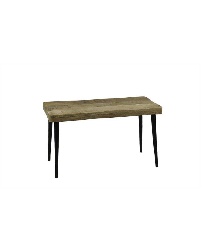 BIDKhome Mango Wood & Hammered Iron Bench- Natural & Black