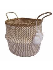 BIDKhome Woven Seagrass Basket with Handles & Poms- White