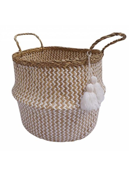 Woven Seagrass Basket with Handles & Poms- White