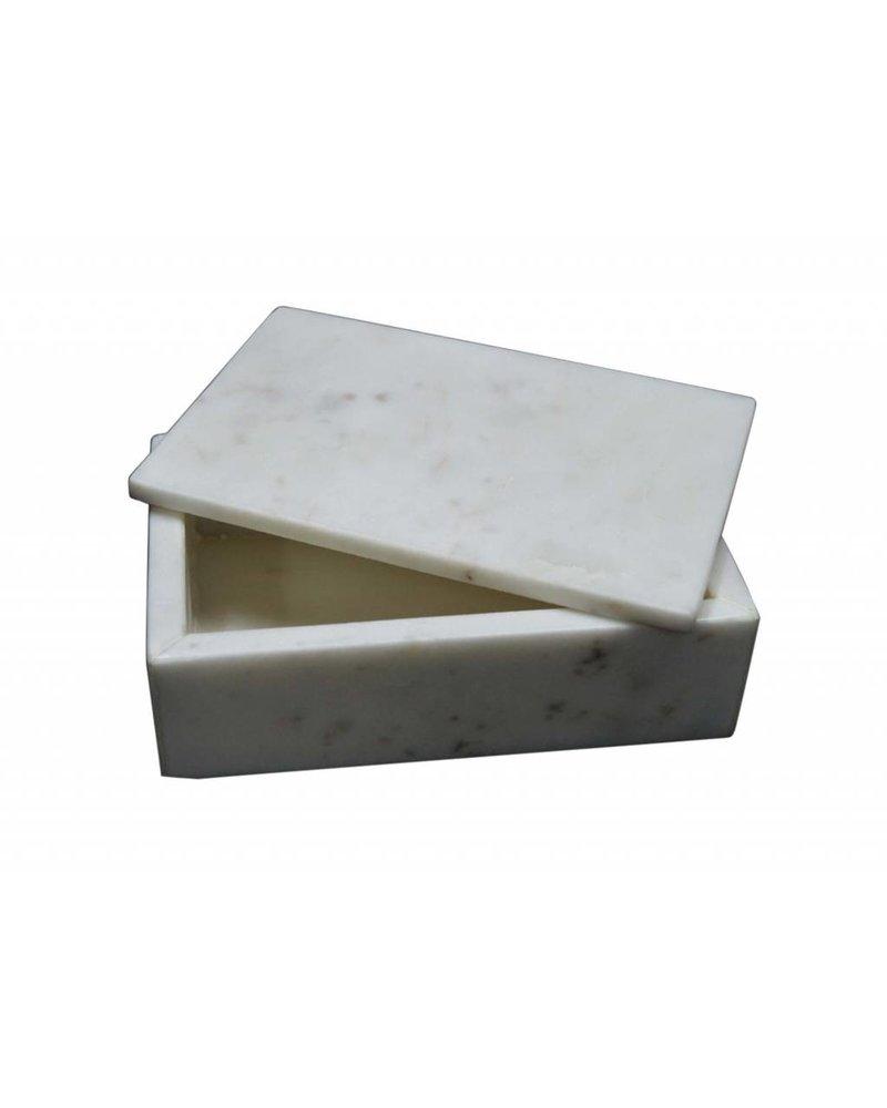 BIDKhome Marble Rectangle Box- White