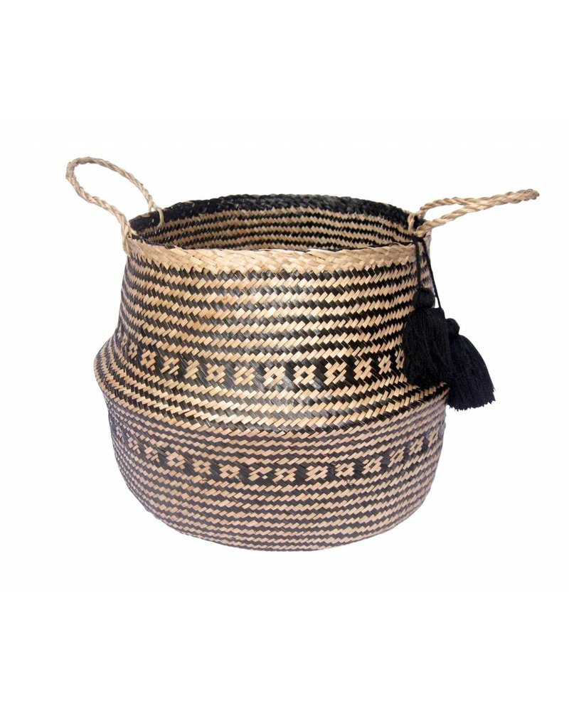 BIDKhome Woven Seagrass Foldable Basket with Handles- Black & Natural
