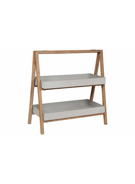 BIDKhome 2-Shelf Plant Shelf- Cement