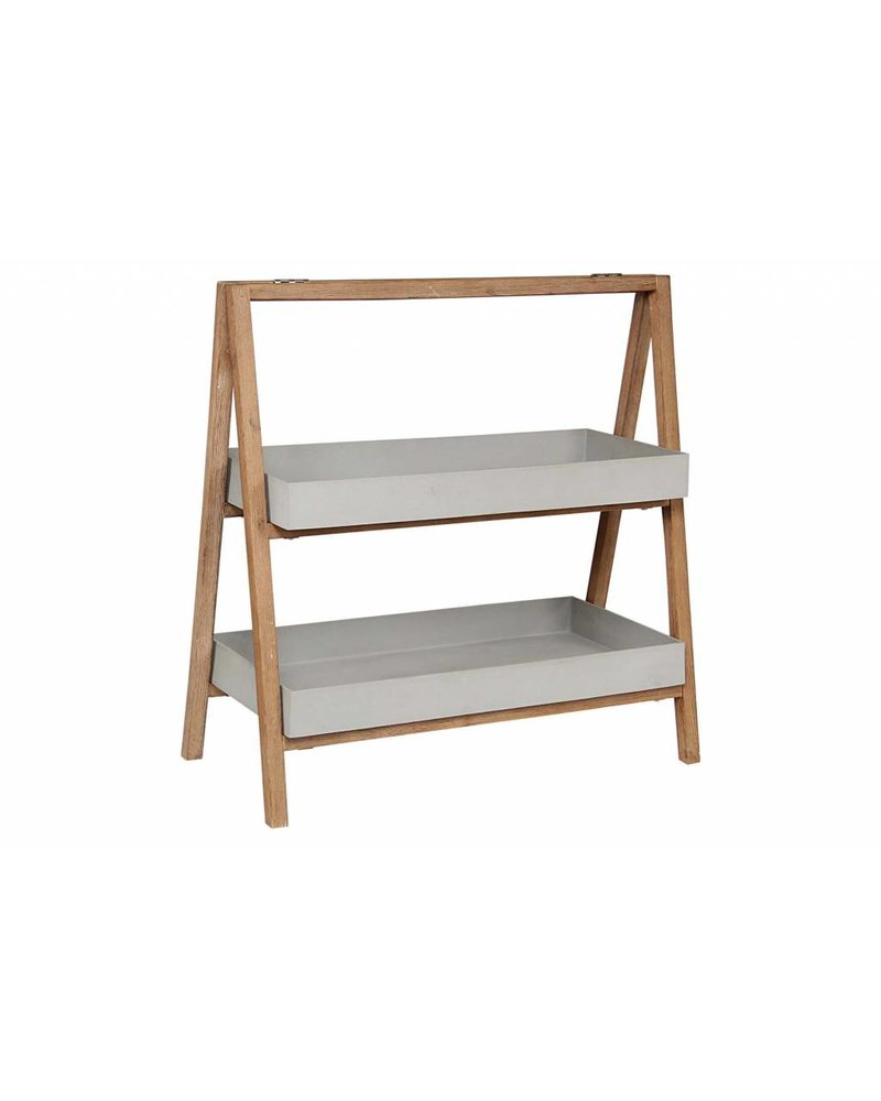 BIDKhome Stone Resin & Acacia 2-Shelf Plant Shelf- Cement